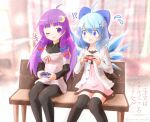 !? >:o +++ 2girls :o ;d ahoge alternate_costume bench black_legwear bow casual cirno contemporary controller crescent crescent_hair_ornament flying_sweatdrops game_controller hair_bow hair_ornament hair_ribbon hairpin holding ice ice_wings long_hair looking_at_viewer multiple_girls one_eye_closed open_mouth pantyhose park_bench patchouli_knowledge playstation_controller purple_hair ribbon short_hair sitting smile sweatdrop thigh-highs touhou translation_request violet_eyes wings yurume_atsushi zettai_ryouiki