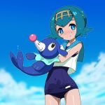 1girl blue_eyes blue_hair crop_top hairband pokemon pokemon_(creature) pokemon_(game) pokemon_sm popplio rohitsuka sailor_collar school_swimsuit short_hair suiren_(pokemon) swimsuit swimsuit_under_clothes