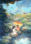 2girls autumn_leaves black_eyes black_hair blouse blue_sky clouds fern flip-flops footwear_removed grass highres kitsu+3 koi long_hair looking_at_another looking_to_the_side moss multiple_girls no_lineart original parasol path pond ribbon road sandals shirt short_hair short_sleeves shorts sitting sky smile soaking_feet squatting stepping_stones striped striped_shirt umbrella white_blouse white_shirt wire_fence