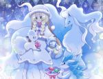 1girl alola_form alolan_ninetales alolan_sandshrew alolan_sandslash alolan_vulpix bangs blonde_hair blunt_bangs boots bow braid capelet christmas claws closed_eyes closed_mouth collarbone dress fox fur_trim green_eyes hat kitsune lillie_(pokemon) long_hair maiko_(mimi) multiple_tails ninetales nose_bubble pantyhose pink_bow pokemon pokemon_(creature) pokemon_(game) pokemon_sm polka_dot polka_dot_bow pom_pom_(clothes) purple_ribbon ribbon sack sandshrew sandslash santa_boots see-through sleeping smile snow snowflakes snowing spikes standing tail twin_braids vulpix white_dress white_hat white_legwear