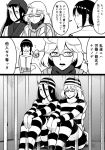 4girls alternate_costume battleship_hime bifidus comic commentary flying_sweatdrops glasses greyscale hat horns hyuuga_(kantai_collection) kantai_collection kitakami_(kantai_collection) monochrome multiple_girls prison prison_cell prison_clothes scarf simple_background supply_depot_hime translated