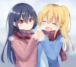 2girls :d black_hair blonde_hair blue_coat blush breath closed_mouth coat eyebrows_visible_through_hair hair_between_eyes hand_holding head_tilt heat_pack high_ponytail kyuukon_(qkonsan) long_hair long_sleeves multiple_girls open_clothes open_coat open_mouth original pink_coat plaid plaid_scarf red_eyes scarf shared_scarf smile upper_body