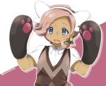 1boy animal_ears artist_name blue_eyes blush dark_skin ilima_(pokemon) male_focus momosemocha open_mouth pink_hair pokemon pokemon_(game) pokemon_sm solo upper_body