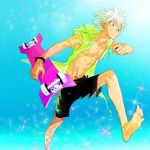 1boy barefoot blue_eyes bracelet grin hunter_x_hunter jacket jewelry killua_zoldyck male_focus male_swimwear muscle open_clothes open_jacket shirtless skateboard sleeveless sleeveless_hoodie smile solo sparkle swim_trunks swimwear white_hair yonsang21