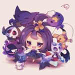 1girl :3 acerola_(pokemon) chibi dress drifloon duskull elite_four froslass gastly hair_ornament half_updo haunter litwick mimikyu_(pokemon) muuran open_mouth pokemon pokemon_(creature) pokemon_(game) pokemon_sm purple_hair short_hair torn_clothes torn_dress violet_eyes
