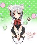 1girl abe_suke alternate_costume animal_ears apron bangs basket between_legs blush bow bowtie brown_eyes enmaided eyebrows_visible_through_hair grey_hair hand_between_legs highres looking_at_viewer maid maid_headdress mouse_ears mouse_tail nazrin open_mouth red_neckwear seiza short_hair short_sleeves signature sitting solo sweat tail thigh-highs touhou waist_apron white_legwear zettai_ryouiki