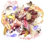 animal_ears blonde_hair breasts cleavage fox_ears fox_tail hair_ornament high_heels highres kayou_(sennen_sensou_aigis) large_breasts legs_crossed long_hair long_nails looking_at_viewer multiple_tails nail_polish petals sennen_sensou_aigis smile tail