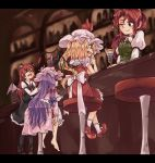 arm_garter bar bar_stool barefoot bat_wings black_legwear black_skirt black_vest blonde_hair blue_ribbon brown_shoes capelet collared_shirt crystal dress drinking_straw empty_eyes flandre_scarlet frilled_dress frilled_sleeves frills hair_ribbon hat hat_ribbon head_wings hong_meiling indoors karua_m koakuma long_hair long_sleeves mary_janes mob_cap necktie no_hat no_headwear one_eye_closed pantyhose patchouli_knowledge puffy_short_sleeves puffy_sleeves purple_hair red_eyes red_ribbon red_shoes red_skirt red_vest redhead ribbon scarlet_devil_mansion shirt shoes short_sleeves side_ponytail sitting skirt skirt_set socks stool touhou tress_ribbon vest violet_eyes white_legwear wings