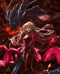 1boy 1girl angel_(drag-on_dragoon) blonde_hair blue_eyes breasts caim cleavage cocoon_(yuming4976) dated drag-on_dragoon drag-on_dragoon_1 dragon dress fire holding_mask horns lips long_hair long_sleeves looking_at_viewer mask personification role_reversal scales strap sword symbol teeth title weapon wind yellow_eyes