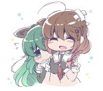 2girls ^_^ ahoge bandaid bare_shoulders bloom2425 blue_eyes braid brown_hair closed_eyes commentary detached_sleeves flying_sweatdrops gloves hair_flaps hair_ornament hair_over_shoulder hair_ribbon hairclip hiding kantai_collection multiple_girls necktie ponytail remodel_(kantai_collection) ribbon school_uniform serafuku shigure_(kantai_collection) shy single_braid thigh-highs torn_clothes yamakaze_(kantai_collection)