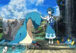 1girl blue_eyes blue_hair bridge chinchou clouds hairband lapras pippi_(pixiv_1922055) pokemon pokemon_(creature) pokemon_(game) pokemon_sm popplio pyukumuku sandals short_hair sky suiren_(pokemon) water waterfall wishiwashi