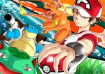 artist_request baseball_cap blastoise brown_hair bulbasaur charizard hat male_focus poke_ball pokemon pokemon_(creature) pokemon_(game) pokemon_sm red_(pokemon)_(sm) shirt spiky_hair t-shirt