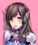1girl bodysuit brown_eyes brown_hair bubble_blowing bubblegum bunny_print d.va_(overwatch) eyebrows eyebrows_visible_through_hair facepaint facial_mark gum headphones high_collar overwatch pauldrons pilot_suit pink_lips ribbed_bodysuit sasucchi95 shoulder_pads skin_tight solo watermark web_address whisker_markings