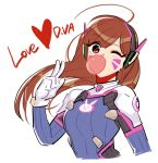 1girl ahoge bangs bodysuit bracer breasts brown_eyes brown_hair bubble_blowing bubblegum bunny_print character_name d.va_(overwatch) eyebrows eyebrows_visible_through_hair facepaint facial_mark gloves gum hand_up headphones heart lenaxhana long_hair long_sleeves looking_at_viewer one_eye_closed overwatch pauldrons pilot_suit purple_bodysuit ribbed_bodysuit shoulder_pads simple_background solo star star-shaped_pupils symbol-shaped_pupils turtleneck upper_body v whisker_markings white_background white_gloves