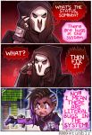 1boy 1girl asymmetrical_hair comic dark_skin earrings english hood jacket jewelry kataro mask mole mole_under_eye multicolored_hair overwatch purple_hair reaper_(overwatch) sombra_(overwatch) speech_bubble spider trench_coat two-tone_hair upper_body violet_eyes