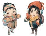 2boys :d backpack bag bandaid bandaid_on_nose bangs beanie black_hair black_pants blush boots breath brothers buttons cardigan child coat covered_mouth covering_mouth dragon_print drawstring earmuffs from_above full_body genji_(overwatch) hair_slicked_back hand_over_own_mouth hanzo_(overwatch) hat holding_strap interlocked_fingers long_sleeves looking_at_viewer looking_up male_focus mittens multiple_boys muyihui open_mouth overwatch own_hands_together pants red_hat scarf siblings simple_background smile unbuttoned white_background white_boots white_pants yellow_scarf younger