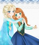 2girls blue_eyes blushing cake dress duo frozen_(disney) ginger_hair green_eyes open_mouth simple_background sisters tagme white_hair