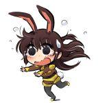 animal_ears bunny_girl bunny_tail chibi dizzy_(feeling) highres iesupa rabbit_ears rwby sweatdrop tail velvet_scarlatina