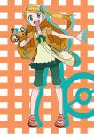 1girl bag blonde_hair blue_eyes dedenne eureka_(pokemon) handbag long_hair mabu_(dorisuto) older open_mouth pokemon pokemon_(anime) pokemon_(creature) pokemon_(game) pokemon_xy side_ponytail skirt solo