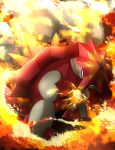 fire froslass_478 no_humans open_mouth pokemon pokemon_(creature) pokemon_(game) pokemon_sm shell solo turtonator