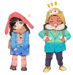 /\/\/\ 1boy 1girl 3: ^_^ animal_hat bag bangs black_eyes black_hair black_pants blush brown_hair brown_scarf brown_shoes bunny_hat bunny_print buttons cardigan cat_print character_print child closed_eyes clothes_grab coat d.va_(overwatch) dark_skin dark_skinned_male drawstring eyelashes full_body fur-lined_jacket grin hair_ornament hairclip hairlocs hands_in_pockets happy hat head_tilt legs_apart light_smile long_hair long_sleeves looking_at_viewer looking_to_the_side muyihui overwatch pants pink_pants pocket pom_pom_(clothes) print_hat shoes shoulder_bag simple_background sleeves_past_wrists smile standing swept_bangs white_background winter_clothes yellow_shoes younger