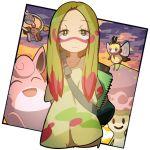 1girl amakoke blonde_hair facepaint green_eyes klefki long_hair matsurika_(pokemon) notepad paint_splatter pokemon pokemon_(creature) pokemon_(game) pokemon_sm ribombee shiinotic smile wigglytuff