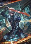 1boy armor battle cyborg eyepatch glowing glowing_eye katana laser male_focus metal_gear_(series) metal_gear_rising:_revengeance raiden red_eyes solo_focus sword wang_chen weapon white_hair