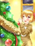 1girl alternate_costume animal_costume blonde_hair blurry blush bokeh christmas christmas_ornaments christmas_tree commentary depth_of_field hand_up highres holding hood indoors lens_flare looking_up night open_mouth red_eyes reindeer_costume rody_(hayama_yuu) rumia short_hair smile snow snowing solo touhou window