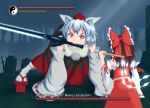 2girls all_fours animal_ears arm_at_side bare_shoulders bow brown_hair character_name dark_souls detached_sleeves erulon fangs forest from_behind geta giant gohei hair_bow hair_tubes hakurei_reimu hat holding holding_sword holding_weapon inubashiri_momiji long_sleeves looking_at_another mouth_hold multiple_girls nature no_tail outdoors over_shoulder parody pom_pom_(clothes) red_eyes ribbon ribbon-trimmed_sleeves ribbon_trim short_hair silver_hair size_difference skirt skirt_set souls_(from_software) sword tengu-geta tokin_hat tombstone touhou tree user_interface weapon weapon_over_shoulder wide_sleeves wolf_ears