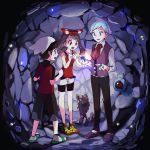 1girl 2boys beldum bike_shorts black_hair blue_eyes brown_hair cave gem hair_ribbon haruka_(pokemon) haruka_(pokemon)_(remake) hat jewelry multiple_boys npc npc_trainer open_mouth pokemon pokemon_(creature) pokemon_(game) pokemon_oras poochyena popcorn_91 ribbon ring shirt short_hair shorts silver_hair sleeveless sleeveless_shirt smile stone tsuwabuki_daigo yuuki_(pokemon)