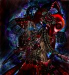 1girl abstract abstract_background anchor artist_name bag belt bow check_commentary clock commentary commentary_request cybernetic_eye dark dial eyes flower gears hat highres industrial lamp light long_hair looking_at_viewer md5_mismatch mechanical mechanical_arms mechanization moon_(ornament) oounabara_to_wadanohara plait red_eyes rose skirt soggates-nyan_(amurka-chan) solo steampunk tagme wadanohara wire witch witch_hat
