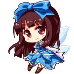 1girl arm_garter bangs blue_bow blue_dress blunt_bangs blush_stickers boots bow brown_boots brown_eyes brown_hair chibi collar cross-laced_footwear dress fairy_wings frilled_collar frills full_body hair_bow juliet_sleeves long_hair long_sleeves looking_at_viewer lowres puffy_sleeves renren_(ah_renren) simple_background smile solo star star_print star_sapphire touhou white_background wide_sleeves wings