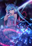1girl absurdres aqua_eyes aqua_hair bracelet detached_sleeves dress hatsune_miku highres jewelry long_hair looking_at_viewer qingye_ling solo twintails very_long_hair vocaloid