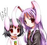 2girls animal_ears black_hair female inaba_tewi lowres multiple_girls purple_hair rabbit_ears red_eyes reisen_udongein_inaba tenmaru touhou utatemaru_(pixiv)