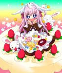 +_+ 1girl blush_stickers cake candy doughnut dress food fruit in_food lollipop long_hair oversized_object pancake pastry pink_hair rabbit rainbow_background skirt_basket star strawberry strawberry_shortcake swirl_lollipop tsukamoto_tsukasa