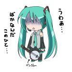 banjo chibi green_hair hatsune_miku instrument kikuchi_tsutomu long_hair twintails vocaloid