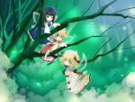3girls blonde_hair dress fairy fairy_wings female flying full_body glowing hat in_tree long_hair long_sleeves looking_at_viewer luna_child multiple_girls nature perfect_memento_in_strict_sense plant purple_hair red_eyes short_hair smoke star_sapphire sunny_milk tate_eboshi touhou tree very_long_hair wallpaper white_dress wings yuge_sasatarou