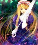 1girl blonde_hair bow cherry_blossoms closed_umbrella dress duplicate female gloves hair_bow hat long_hair ribbon smile solo takashima touhou umbrella very_long_hair violet_eyes white_gloves yakumo_yukari