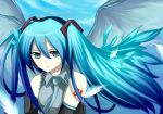 1girl aqua_hair aqua_necktie bad_id blue_eyes detached_sleeves expressionless feathers harano hatsune_miku headgear jitome long_hair long_sleeves looking_at_viewer necktie number solo tattoo twintails very_long_hair vocaloid