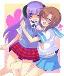 bad_id cheek-to-cheek hanyuu harano higurashi_no_naku_koro_ni ryuuguu_rena school_uniform serafuku take_it_home yuri