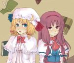 2girls alice_margatroid alice_margatroid_(cosplay) blue_eyes book cosplay costume_switch female long_hair multiple_girls no_hat patchouli_knowledge patchouli_knowledge_(cosplay) touhou