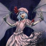 1girl cervus fang female gradient gradient_background hat remilia_scarlet skirt solo touhou wings