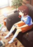 1girl brown_eyes brown_hair cellphone couch food food_in_mouth footwear game_console hyuuga_azuri juice_box kneehighs mouth_hold phone plate playing_games sitting socks solo spoon super_famicom super_nintendo toast toast_in_mouth video_game