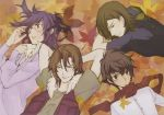 4boys allelujah_haptism arms_up black_hair blush brown_hair closed_mouth from_above fur_trim gundam gundam_00 kouga_yun lockon_stratos long_hair looking_to_the_side lying multiple_boys official_art on_back on_stomach scan scarf setsuna_f_seiei shirt smile t-shirt tieria_erde upper_body vest violet_eyes yun_kouga