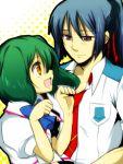 1boy 1girl blue_hair green_hair hio_(artist) lowres macross macross_frontier ranka_lee red_eyes ribbon saotome_alto school_uniform smile