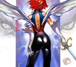 1girl artist_name ass back bad_id cutie_honey cutie_honey_(character) from_behind gloves kisaragi_honey magical_girl redhead short_hair signature solo sword takahashi_kenji touei weapon wings