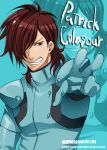 1boy blue blue_background bodysuit brown_hair clenched_teeth gundam gundam_00 hair_over_one_eye looking_at_viewer male_focus open_mouth outstretched_arm patrick_colasour simple_background skin_tight solo teeth text zoom_layer