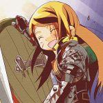 1girl araki_fuu armor atlus blonde_hair blood lowres paladin paladin_(sekaiju) sekaiju_no_meikyuu shield smile solo