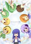 2boys 6+girls blonde_hair bow furude_rika green_hair hanyuu higurashi_no_naku_koro_ni houjou_satoko houjou_satoshi maebara_keiichi multiple_boys multiple_girls pink_bow ryuuguu_rena siblings sisters sonozaki_mion sonozaki_shion twins yuzuki_(artist) yuzuki_(yuduame)