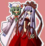 2girls cosplay costume_switch female front_ponytail ichidai_taisa kagiyama_hina kagiyama_hina_(cosplay) multiple_girls patchouli_knowledge patchouli_knowledge_(cosplay) touhou
